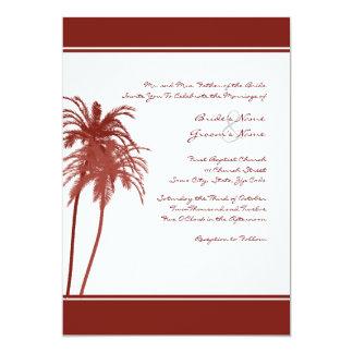 Convite tropical vermelho e branco das palmas