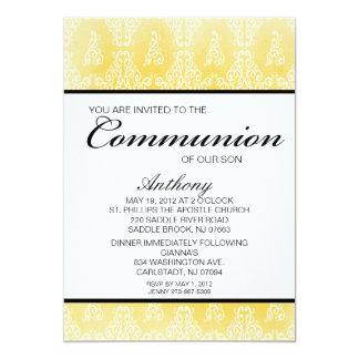 Convite unisex do comunhão do damasco amarelo