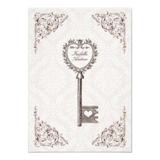 Convite #V1 do casamento da chave do amor do