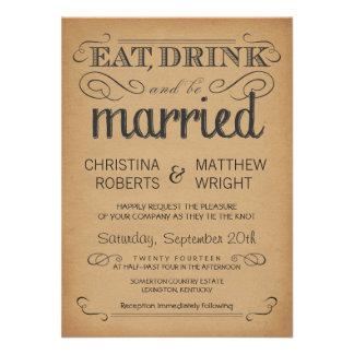 Convite velho do casamento do pergaminho da tipogr