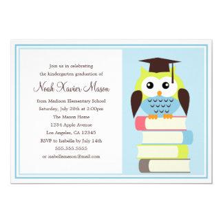 Convite verde/azul da festa de formatura da coruja