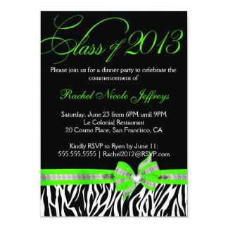 Convite verde branco preto da graduação da zebra
