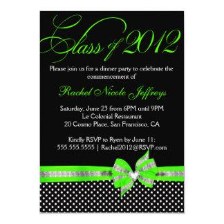 Convite verde branco preto da graduação das