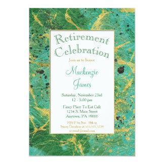 Convite verde da aposentadoria do abstrato do ouro
