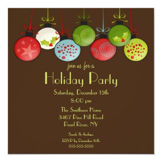 Convite verde da festa natalícia dos enfeites de