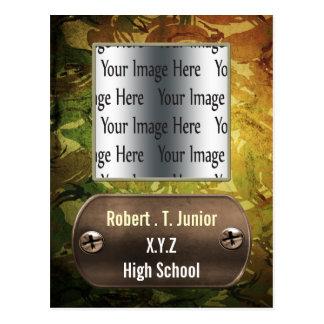 convite verde da foto da graduação do camo da