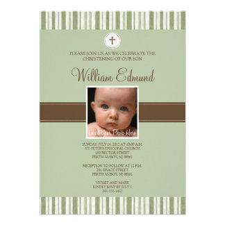 Convite verde da foto da listra do batismo