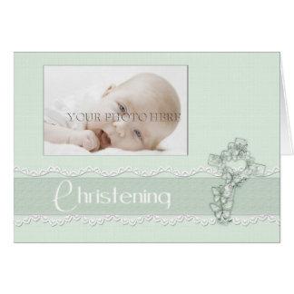 Convite verde da foto do batismo cartão de nota