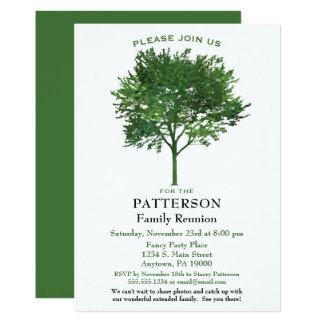 Convite verde da reunião de família da árvore