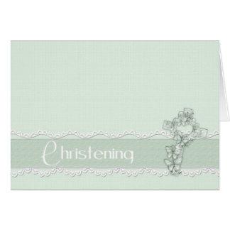 Convite verde do batismo cartão de nota