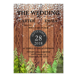 Convite verde do casamento da neve do inverno