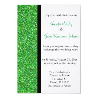 Convite verde do casamento do brilho