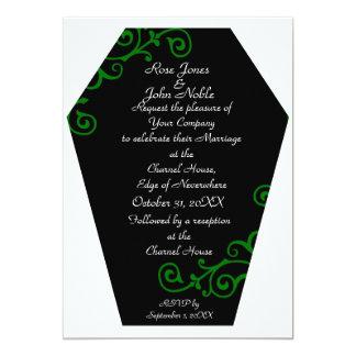 Convite (verde) do casamento do ébano de Keranda