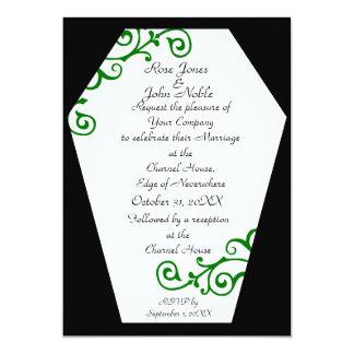 Convite (verde) do casamento do marfim de Keranda