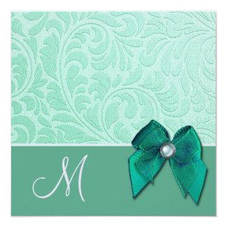 Convite verde do casamento do monograma de brocado