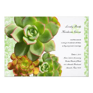 Convite verde do casamento tema damasco do vintage