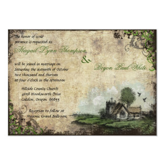 Convite verde do casamento vintage da igreja