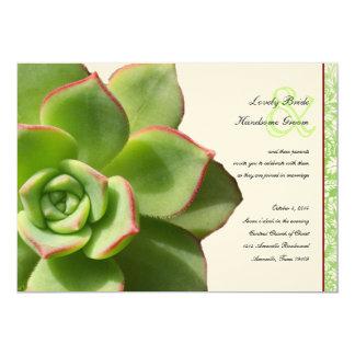 Convite verde do casamento vintage do Succulent