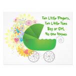 Convite verde do chá de fraldas do carrinho de cri