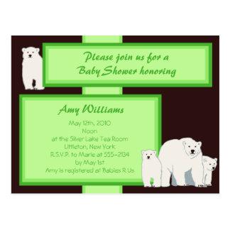 Convite verde do chá do cartão dos ursos polares