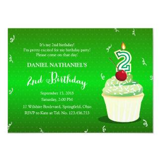 Convite verde do cupcake do partido de segundo