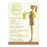 Convite verde e marrom chique moderno do chá de convite 12.7 x 17.78cm