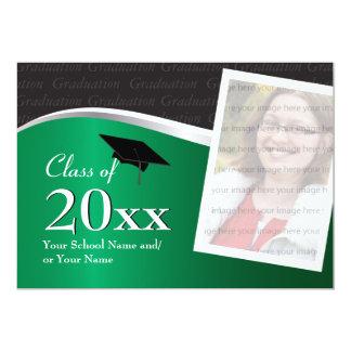 Convite verde e preto customizável da graduação