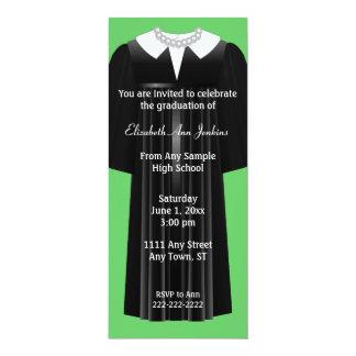 Convite verde e preto da graduação das senhoras