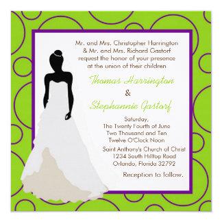 convite verde elétrico do casamento do