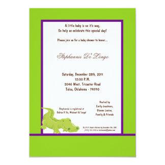 convite verde elétrico do chá de fraldas do jacaré