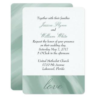 Convite verde marmoreado branco e da hortelã do
