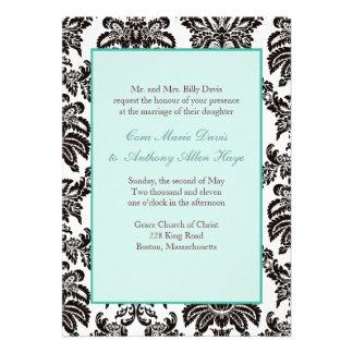 Convite verde moderno do casamento tema damasco