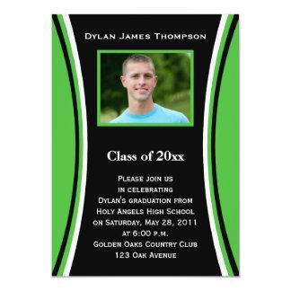 Convite verde, preto, branco da graduação da foto