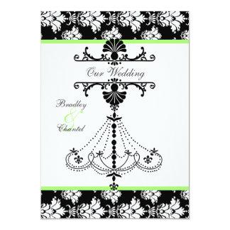 Convite verde, preto, branco do casamento do