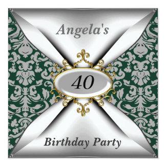 Convite verde velho da festa de aniversário branca