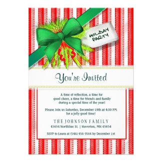 Convite vermelho & branco da festa natalícia - da