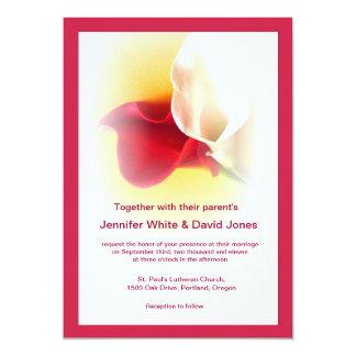 Convite vermelho & branco do casamento do lírio de