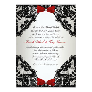Convite vermelho, branco e preto do casamento do