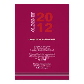Convite vermelho da classe da graduação da listra