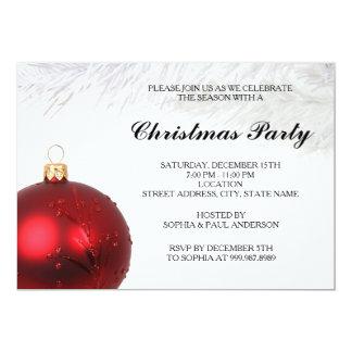 Convite vermelho da festa de Natal do Bauble