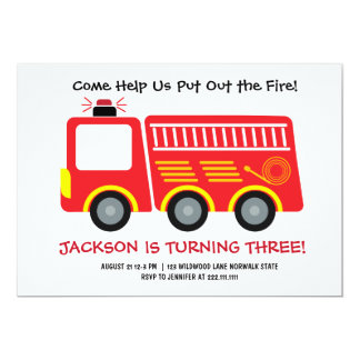 Convite vermelho do aniversário do Firetruck