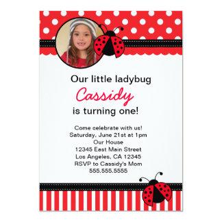 Convite vermelho do aniversário do joaninha