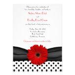 Convite vermelho do casamento da margarida das bol