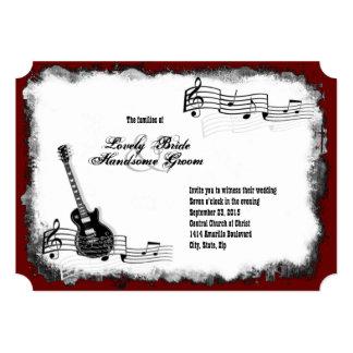 Convite vermelho do casamento da música do preto convite 12.7 x 17.78cm