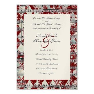 Convite vermelho do casamento de Chevron da música