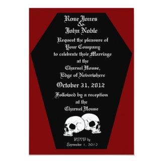 Convite (vermelho) do casamento do ébano do caixão