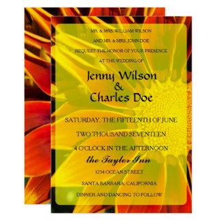 Convite vermelho do casamento do girassol