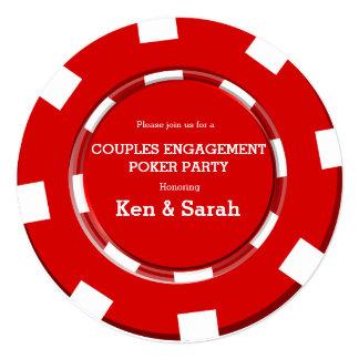Convite vermelho do casamento do noivado do