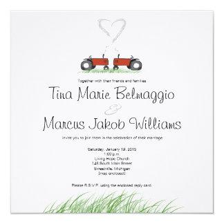 Convite vermelho do casamento do trator