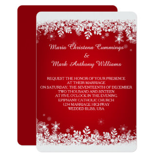 Convite vermelho do casamento no inverno do floco